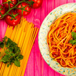 Leinwandbild Motiv Typical Italian Spaghetti Bolognese Meal