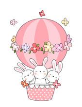 Draw Rabbit In Pink Balloon.