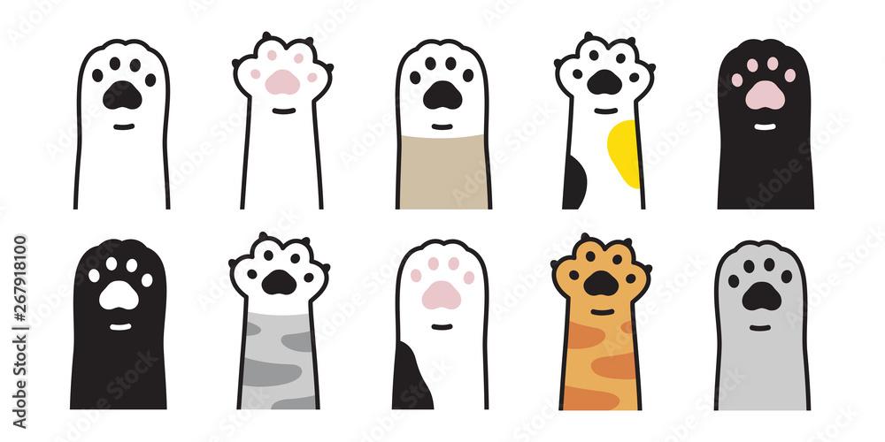 Fototapeta cat paw vector icon calico kitten footprint logo character cartoon ginger doodle illustration sign
