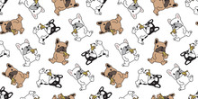Dog Seamless Pattern Vector French Bulldog Pizza Eating Cartoon Scarf Isolated Tile Background Repeat Wallpaper Illustration
