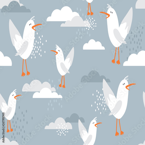 Seamless pattern, birds and clouds, hand drawn overlapping backdrop. Colorful background vector. Cute illustration, seagulls. Decorative wallpaper, good for printing