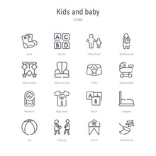 Set Of 16 Kids And Baby Concept Vector Line Icons Such As Butterfly Net, Circus, Playing, Toy, Dodgem, Block, Baby Body, Newborn. 64x64 Thin Stroke Icons