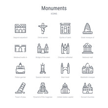 Set Of 16 Monuments Concept Vector Line Icons Such As Domed Churches, United States Capitol, Pyramid Of The Magician, Tower Of Pisa, Badshahi Mosque, Stari Most, Quezon Memorial Circle, Palais