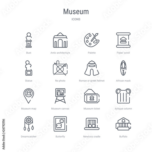 set of 16 museum concept vector line icons such as buffalo, newtons