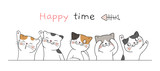 Draw banner cute cat with word happy time.