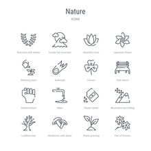 Set Of 16 Nature Concept Vector Line Icons Such As Pair Of Flowers, Plants Growing, Mushroom With Spots, Leafless Tree, Mountains And Falling Snowflakes, Flower Seeds, Wate, Determination. 64x64