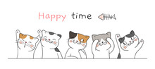 Draw Banner Cute Cat With Word...