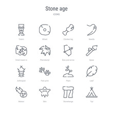 Set Of 16 Stone Age Concept Vector Line Icons Such As Tipi, Stonehenge, Skin, Meteor, Leaf, Plant, Paw Print, Arthropod. 64x64 Thin Stroke Icons
