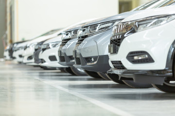 Cars For Sale, Automotive Industry, Cars Dealership Parking Lot. Rows of Brand New Vehicles Awaiting New Owners, on the epoxy floor in new car service