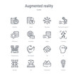 set of 16 augmented reality concept vector line icons such as control, panorama, 3d, eye tap, ar, tilt, 360 degree, telepresence. 64x64 thin stroke icons