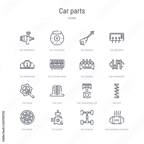 set of 16 car parts concept vector line icons such as car catalytic