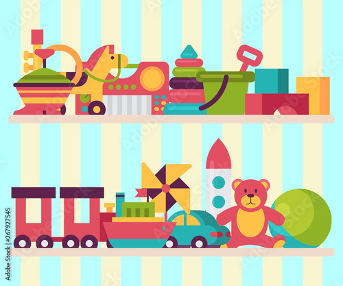Baby toy shop shelf in flat cartoon style. Kids game teddy bear, pyramid, doll. Children fun and activity play colorful kindergarten background vector illustration. #267927545