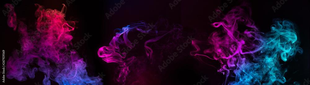 Fototapety, obrazy: blue and purple swirls of smoke on black background