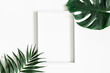 Leinwandbild Motiv Summer composition. Tropical palm leaves, white photo frame on white background. Summer, nature concept. Flat lay, top view, copy space