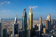 Panorama from the Dubai Downtown Skyline at sunset