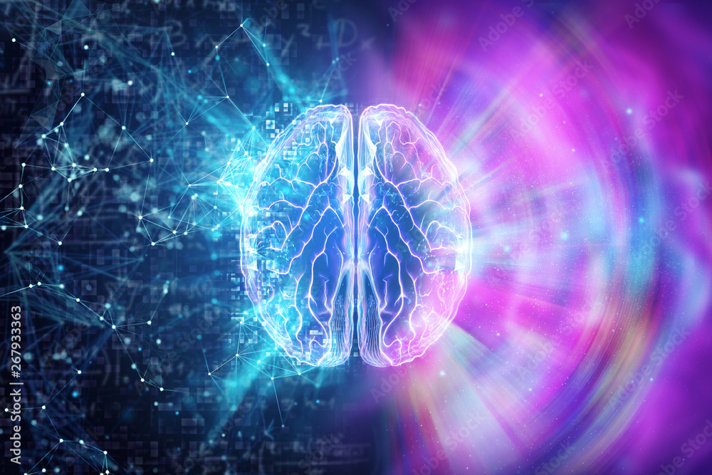 Fototapety, obrazy: Creative background, the human brain on a blue background, the hemisphere is responsible for logic, and responsible for creativity. different hemispheres of the brain, 3D illustration, 3D render