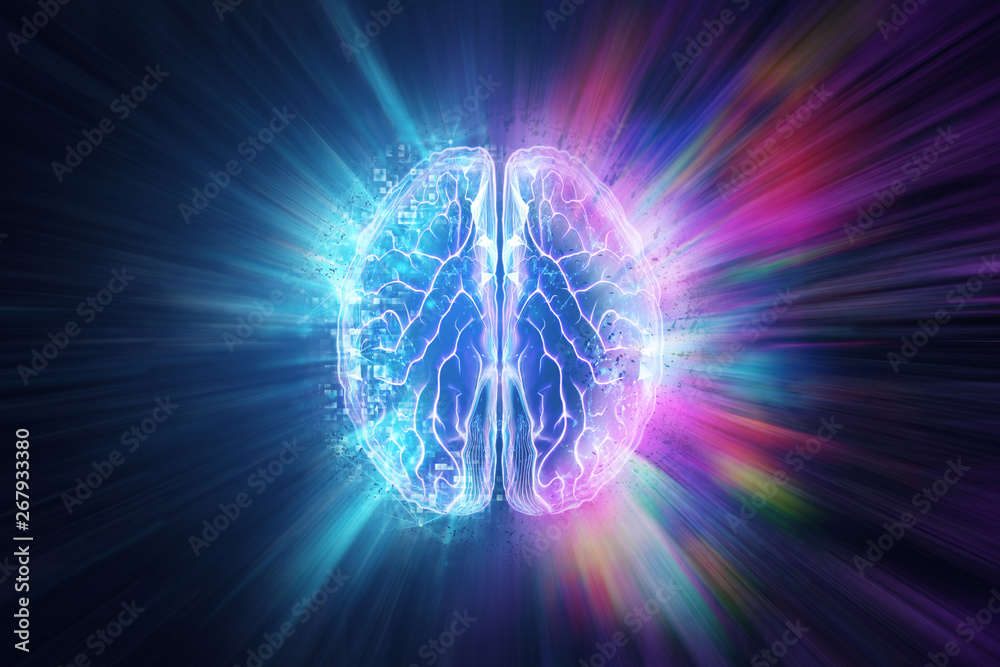 Fototapety, obrazy: Creative background, the human brain on a blue background, the hemisphere is responsible for logic, and responsible for creativity. of different hemispheres of the brain, 3D illustration, 3D render