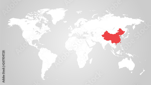 China On A World Map The designation of China on the world map. Red color. White