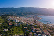 Amazing panoramic view of Porose Greece. Sunny day in Greek island. Aerial photo panoramic. Flyig with birds.