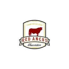 Vintage Red Angus Logo Design Inspirations