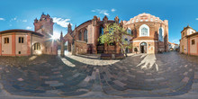 Full Spherical Seamless Panorama 360 Degrees Angle In The Courtyard Of The Old Gothic Church Of Bernardin In Equirectangular Projection, VR AR Content