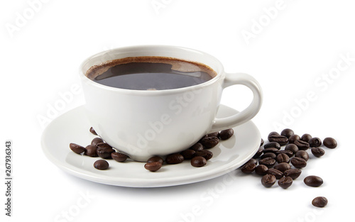 Fototapeta A cup of coffee and roasted beans  isolated on white background.