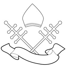 Pope Miter With Crosiers And Blank Banner Text Isolated On White Background