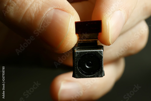 Pinturas sobre lienzo  mini spy camera / small video camera, mini, security concept
