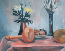 The Oil Still Life With Flower...