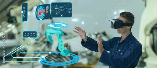 Fotomural iot smart technology futuristic in industry 4