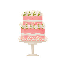 Two-tier Pink Cake With Strips Of White Cream. Decorated With White Flowers. Vector Illustration On White Background.