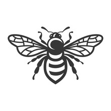 Bee Icon. Bug Logo On White Ba...