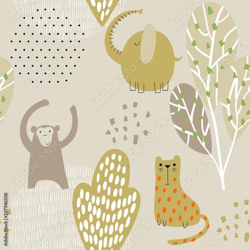 Cute safari animals. Canvas Print