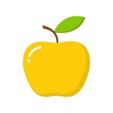 Gold Apple Icon. Flat Illustra...