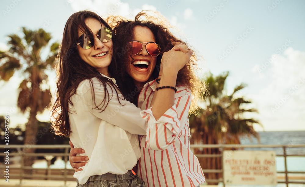 Fototapeta Female friends having fun on day out