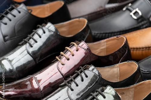 Fototapeta Many fashion formal man leather shoes obraz
