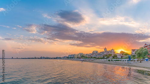 Poster Kust Sunset at the beach in Sunny Beach on the Black Sea coast of Bulgaria. Panoramic view