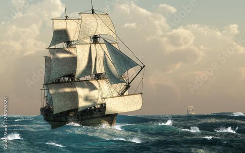 In this nautical scene of the 18th century, a pirate ship sails through rough seas Slika na platnu
