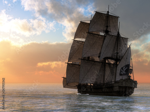 In this nautical scene of the 18th century, a pirate ship flying the Jolly Roger sails on calm seas towards the setting sun Wallpaper Mural