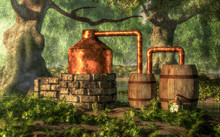 In A Dense Forest With Moss Covered Trees, A Bootlegger Has Constructed A Moonshine Still From Stone, Copper, And A Couple Of Wooden Barrels. A Stream Meanders Through The Woods Nearby.  3D Rendering