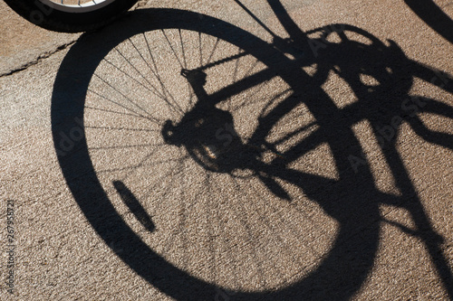 Printed kitchen splashbacks Bicycle bicycle tire with shadow outdoors