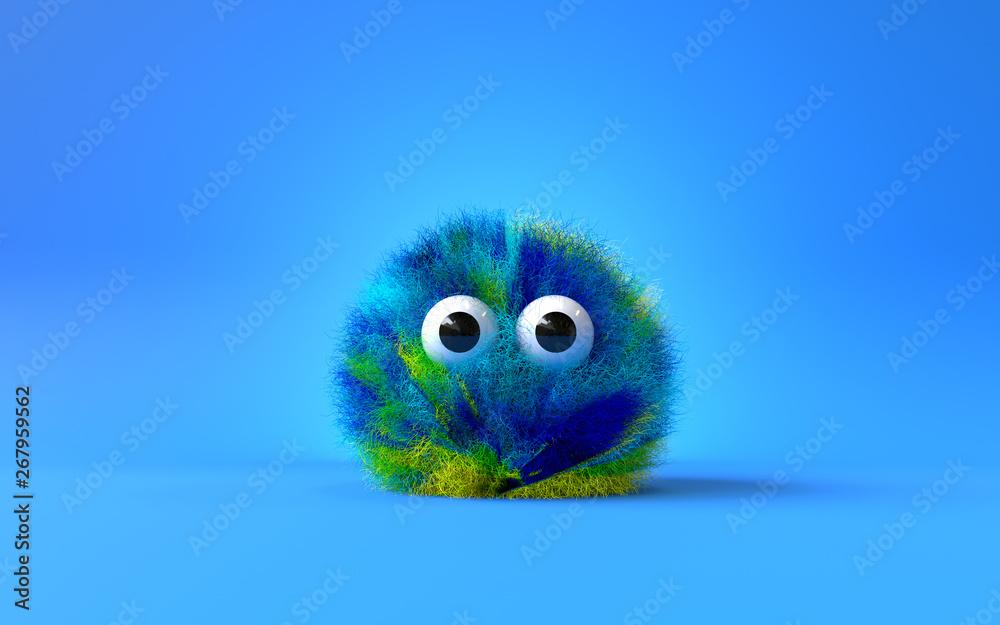 Fototapeta 3d cute furry monster,3d cartoon character