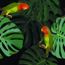 Seamless Pattern. Tropical Exotic Picture - Bright Green Parrots With A Red Head, Large Palm Leaves. Background Is Black. Wallpaper, Poster, Fabric.