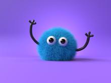 3d Cute Monster Holding Up A B...