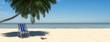 Strand Szene mit Liege unter Palme am Meer