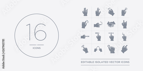 Valokuva  16 vector icons set such as push one finger and twist back, push one finger and