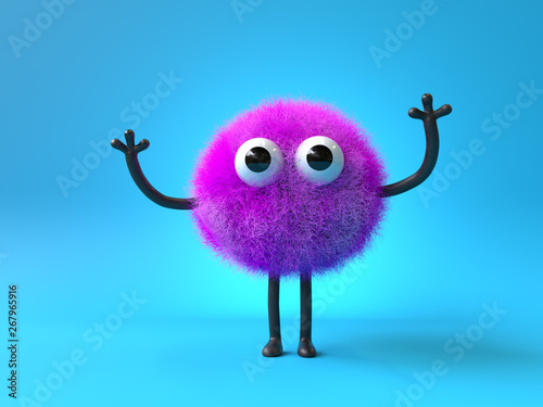 Cuadros en Lienzo 3d cute monster holding up a blank sign,colorful cartoon character,empty banner