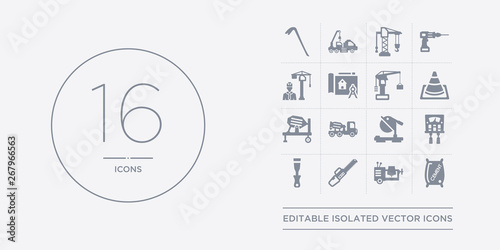 Fotografija 16 vector icons set such as cement, cement mixers, chainsaw, chisel, circuit breaker contains circular saw, concrete, concrete mixer, cone