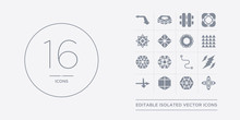 16 Vector Icons Set Such As Hexagon, Hexahedron, Icosahedron, Intersection, Lightning Bolt Polygonal Contains Line Segment, Metatron Cube, Multiple Triangles Inside Hexagon, Multiple Triangles