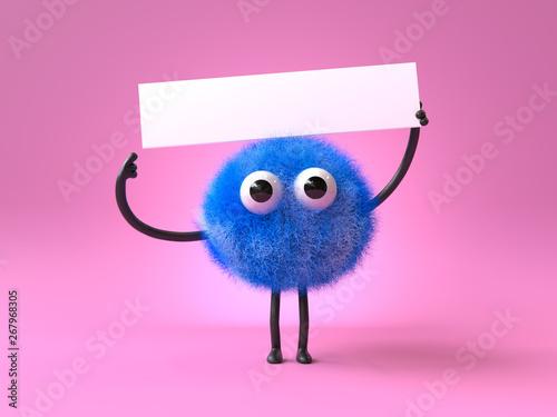 Keuken foto achterwand Uilen cartoon 3d cute monster holding up a blank sign,colorful cartoon character,empty banner